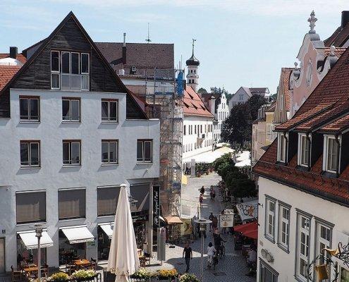 Freitreppe Kempten mit Blick auf Rathausplatz